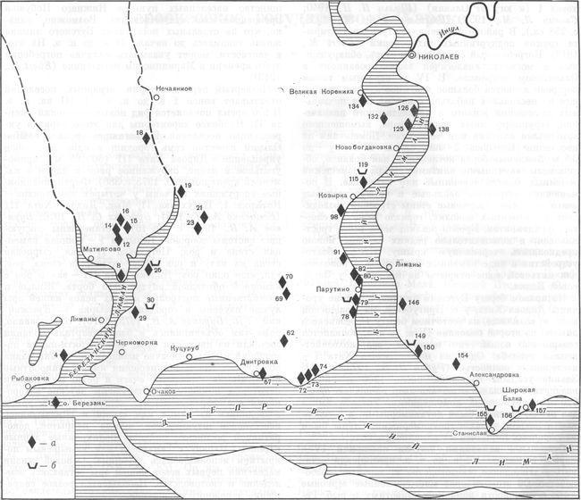 Карта 4. Поселения Нижнего Побужья первых веков нашей эры а — поселения; б — некрополи