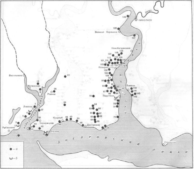 Карта 2. Поселения Нижнего Побужья VI—V вв. до н. э. а — поселения; б — некрополи
