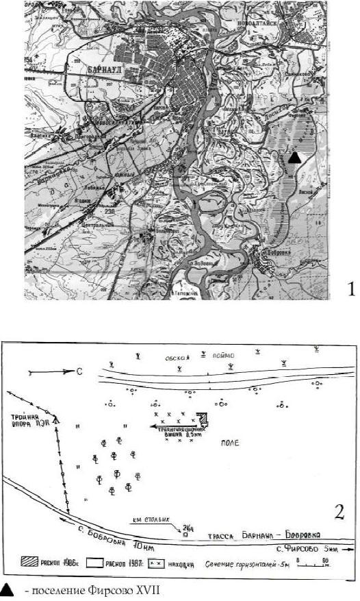 Рис. 1. Карта расположения поселения Фирсово XVII (1) и ситуационный план памятника (2)