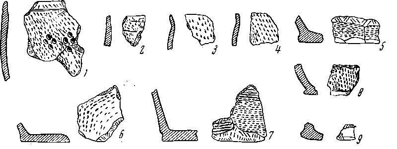 Рис. 2. Керамика из слоя дьяковского поселения под Архангельским собором