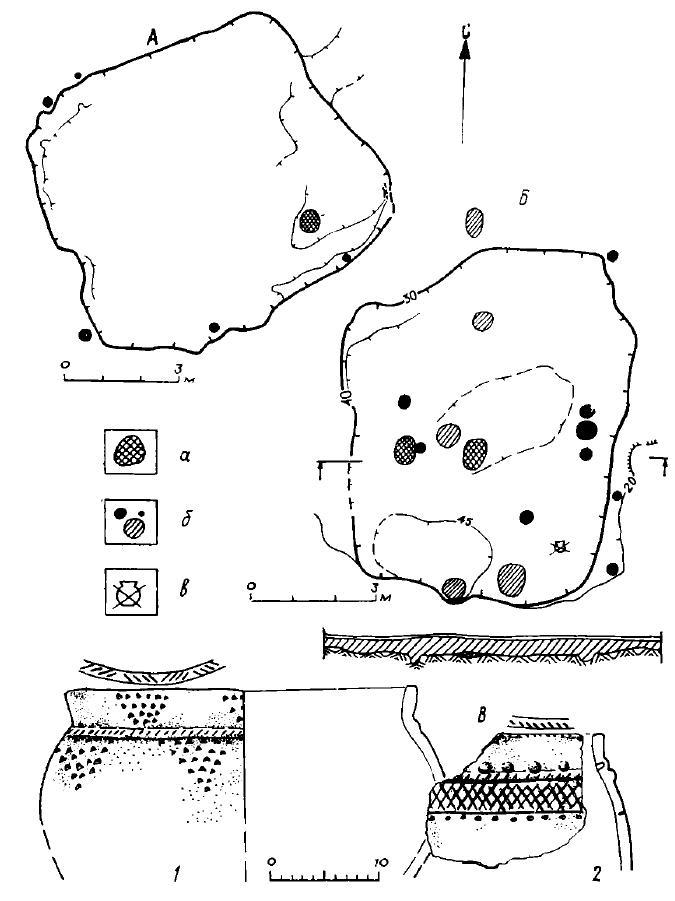 Рис. 11. Поселение Большой Лог: А — жилище 11, Б — жилище 17, а — очаг, б — столбовые ямы, в — раздавленный сосуд; В — керамика (1, 2)