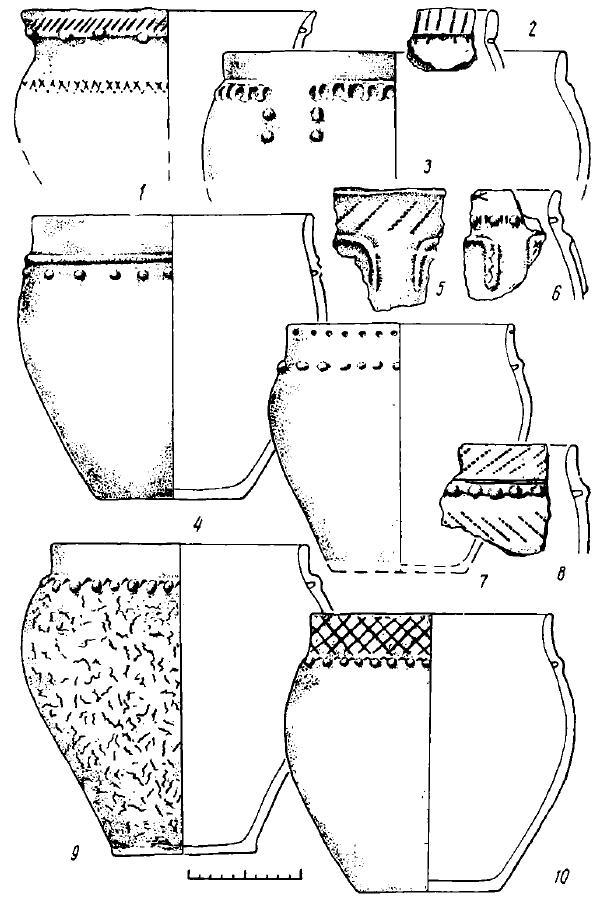 Рис. 13. Поселение Большой Лог. Керамика (1—10)