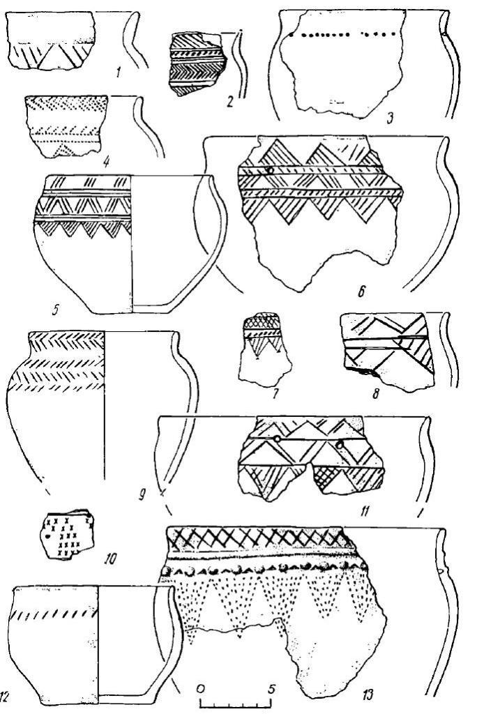 Рис. 14. Поселение Большой Лог. Керамика (1—13)