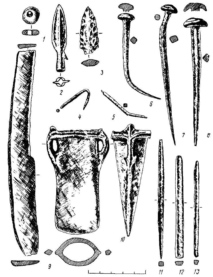 Рис. 15. Поселение Большой Лог. Изделия из камня (1, 3) и бронзы (2, 4—13)