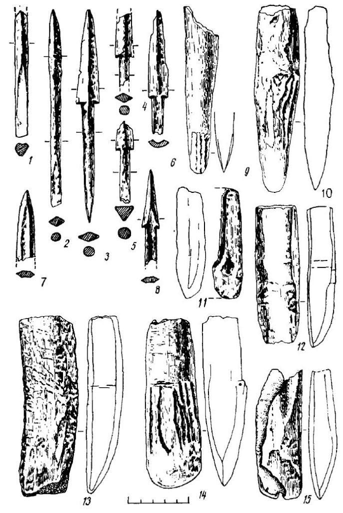 Рис. 17. Поселение Большой Лог. Изделия из кости и рога (1—15)