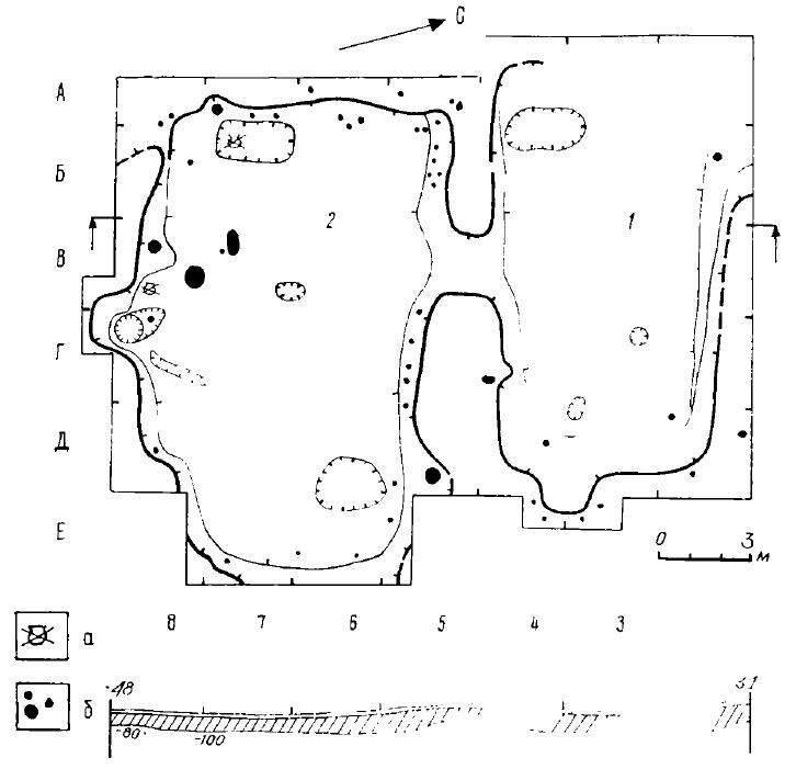 Рис. 3. Поселение Черноозерье I. План раскопа на селище: А — развал сосуда, Б — столбовые ямки; 1,2 — жилище