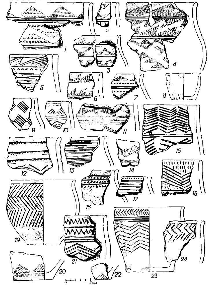 Рис. 4. Керамика поселения Черноозерье I (1—24 — городище)