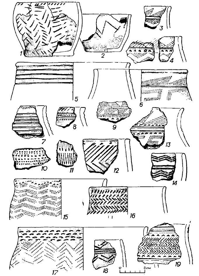 Рис. 6. Керамика поселения Черноозерье I (1—19 — селище)