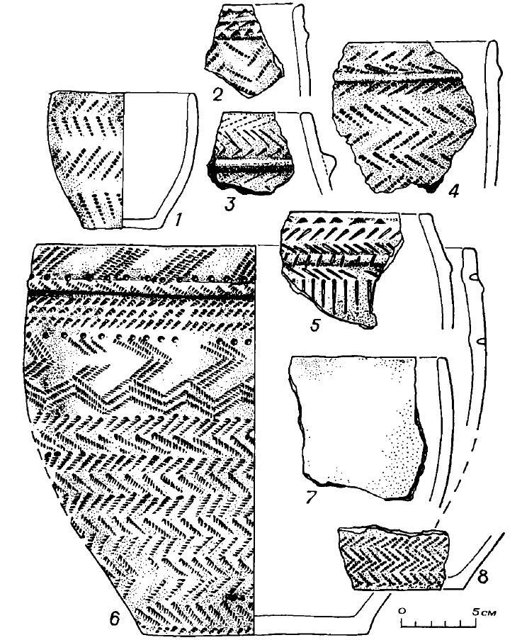 Рис. 7 Керамика поселения Черноозерье I (2,4 — селище, 1, 3, 5—8 — городище)