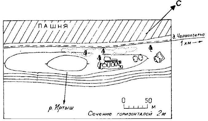 Рис. 1. Поселение Черноозерье I. Общий план.
