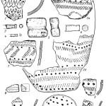 Рис. 18. Эпоха ранней бронзы. Тюменское Притоболье. Одиновский этап. Гребенчато- ямочная керамика и инвентарь поселения Шапкуль VI: 1—4, 6—11 — глина; 5 — камень