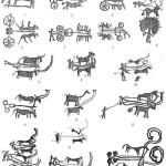 Рис. 107. Саймалы-Таш. Наскальные изображения повозок и колесниц