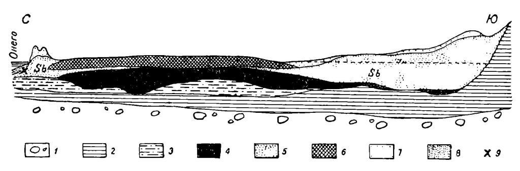 Рис. 4. Схематический разрез южного берега Онежского озера у р. Ошты. 1 — морена; 2 — ленточные глины; 3 — озерные пески (позднеледниковые); 4 — торф (атлантический); 5 — пески (суббореальные); 6 — торф (субатлантический); 7 — пески дюнные; 8 — пески онежские (современные); 9 — поздненеолитическая стоянка.