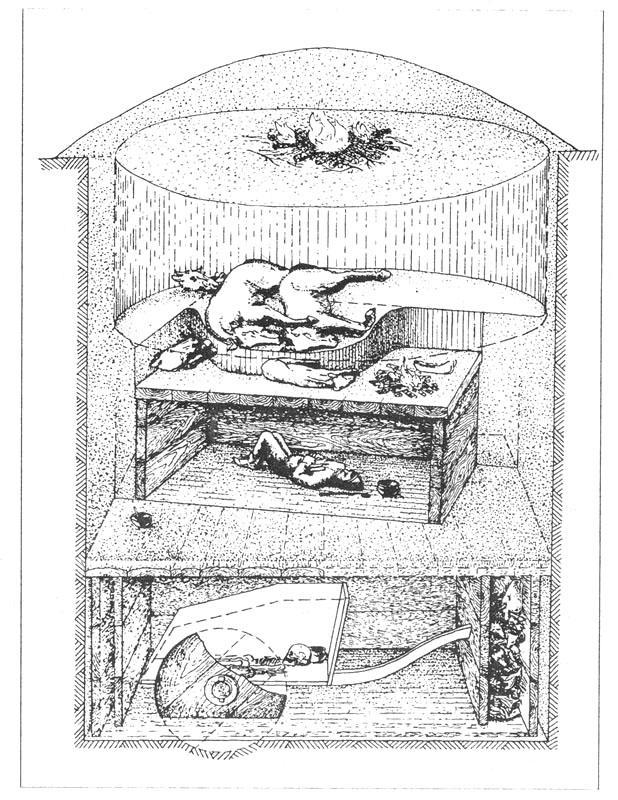 Рис. 81. Реконструкция погребального сооружения Синташтинского могильника [Генинг В. Ф., Зданович Г. Б., Генинг В. В., 1992].