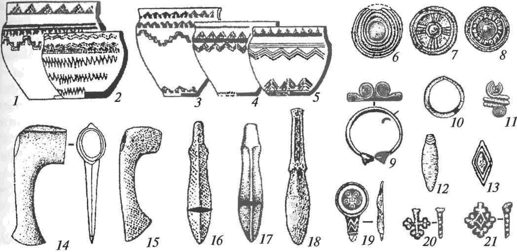 Погребальный инвентарь алакульской культуры: 1-5— керамика; 6-8, 13— накладки; 9— браслет; 10— височное кольцо; 11— перстень; 12 — подвеска; 14, 15 — топоры; 16-18 — ножи; 19 — костяной псалий; 20, 21 — бляшки (6-10— бронза и золотая фольга, 11-18, 20, 21 — бронза)