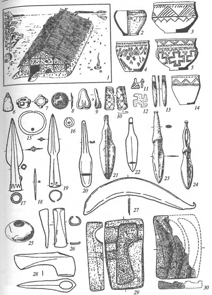 Срубная культурно-историческая общность: 1 — реконструкция жилища; 2-5, 14— керамика; 6, 9, 11, 13 — подвески; 7 — модель булавы; 8, 12— накладки; 10— обоймица; 15— браслет; 16— кольцо; 17, 19— наконечники копий; 18 — шило; 20-24 — ножи и кинжалы; 25 — булава из мрамора; 26 — долото; 27 — серп-секач; 28 — топор; 29, 30 — глиняные формы для отливки топора и серпов-секачей (6, 7— кость; 8-13, 15-24, 26-28 — медь и бронза)