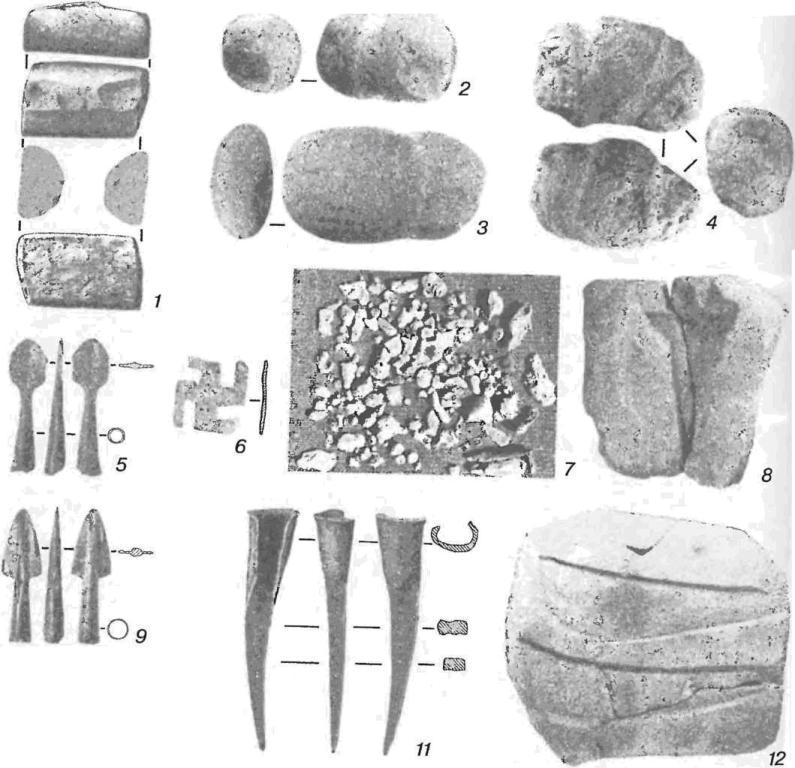 Горный — поселение горняков и металлургов срубной общности: 1 — наковальня; 2, 3 — молотки; 4 — кувалда; 5, 9 — наконечники стрел; 6 — накладка; 7 — отходы выплавки и плавки меди; 8, 12 — формы для отливки кирки-пешни и серпов-секачей; 10 — костяные игральные (гадальные) кости; 11 — кирка-пешня (1-4, 8, 12—камень; 5, 6, 9, 11 —медь и бронза)