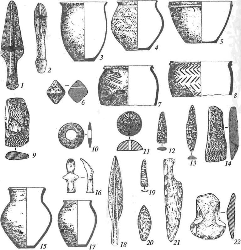 Культуры позднего бронзового века Приамурья и Приморья (1-6, 10 — синегайская; 7-9, 11, 12 — маргаритовская; 13-22 — лидовская): 1, 2, 18— каменные имитации бронзовых наконечников копий; 3-5, 7, 8, 15, 17 — керамика; 9, 14— каменные топоры; 10— глиняный диск; 11 — пряслице; 12, 13— наконечники стрел; 16 — глиняная фигурка; 19-21 — ножи; 22 — мотыга (12, 13, 19-21, 22— камень)