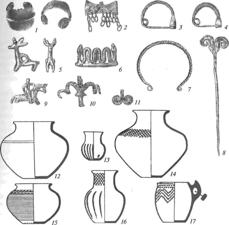 Инвентарь культур позднего бронзового века Кавказа: 1 — браслет; 2, 11 — подвески; 3, 4 — фибулы; 5, 6, 9, 10 — зоо- и антропоморфные фигурки; 7 — гривна; 8 — булавка; 12-17 — керамика (1-11 — бронза)