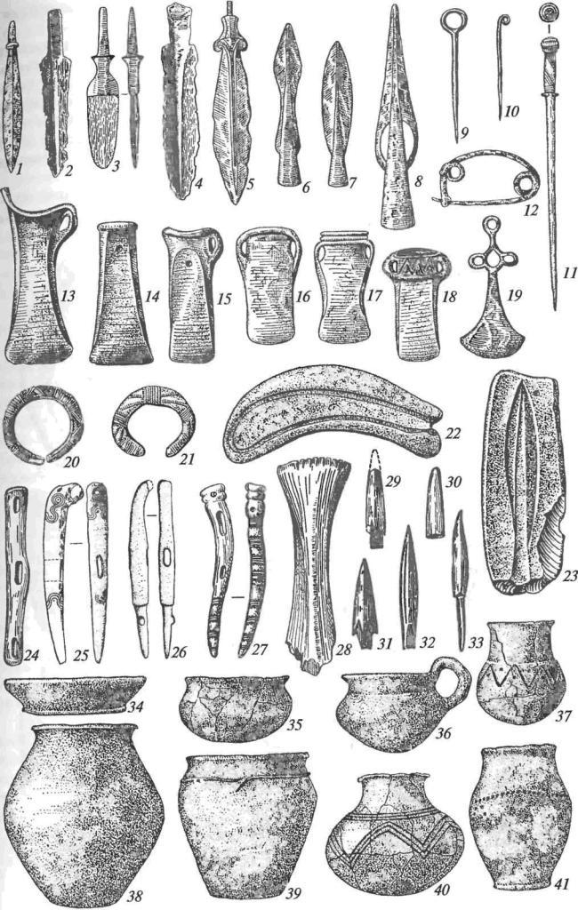 Культуры Европейской металлургической провинции: 1-5 — ножи и кинжалы; 6-8 — наконечники копий; 9-11 — булавки; 12 — фибула; 13-18 — кельты; 19 — подвеска; 20, 21 — браслеты; 22, 23 — формы для отливки серпа-секача и наконечника копья; 24-27 — псалии; 28 — штамп для тиснения кожи; 29-33 — наконечники стрел; 34-41 — керамика (1-2, 4-10, 12-21— бронза; 3— бронза и железо; 11, 24-33— кость; 22, 23— камень)
