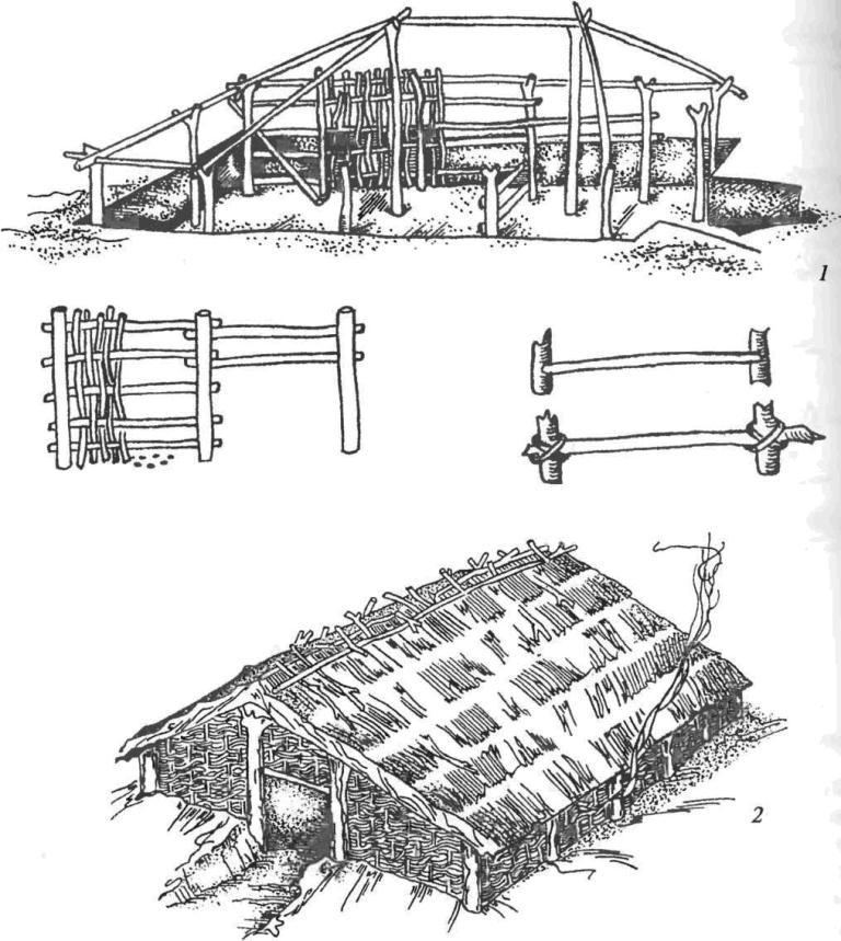 Жилище позднего бронзового века (Пустынка): 1 — реконструкция процесса сооружения жилища каркасно-столбовой конструкции; 2 — реконст¬рукция внешнего вида жилища