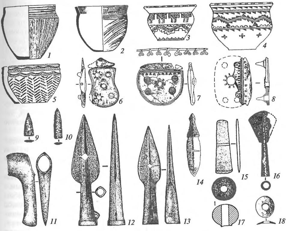Инвентарь «элитных» позднеабашевских погребений: 1-5— керамика; 6-8 — костяные псалии; 9, 10— каменные наконечники стрел; 11 — топор; 12, 13 — наконечники копий; 14 — нож; 15 — тесло; 16 — навершие-лопаточка из кости; 17 — каменная булава; 18 — костяная пряжка (11-15— медь и бронза)