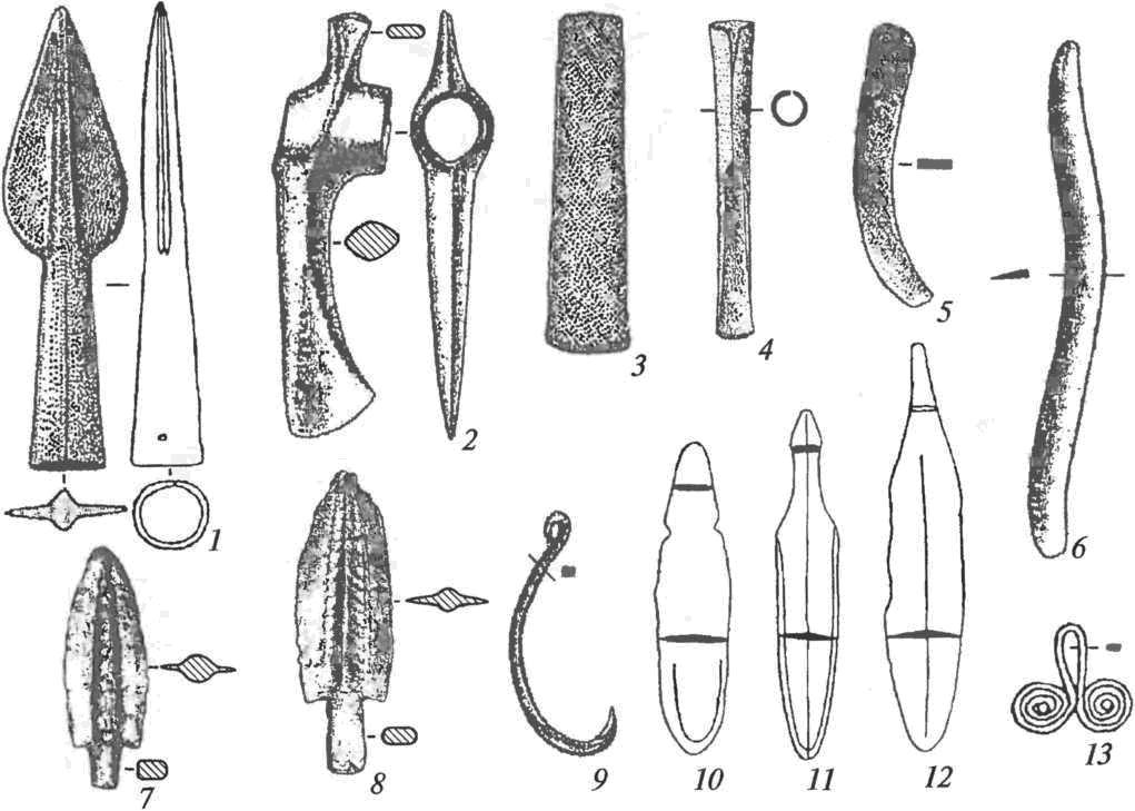 Металлические изделия синташтинской культуры: 1 — наконечник копья; 2 — боевой топор; 3, 4 — плоское тесло и втульчатое долото; 5,6 — серповидные орудия; 7, 8 — наконечники стрел; 9 — рыболовный крюк; 10-12 — ножи; 13 — очковидная подвеска