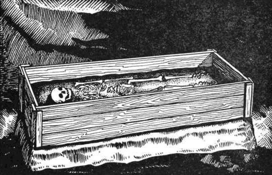 Рис. 86. Вырезка погребения. Первый этап. На вырезанном попе, на котором расположено погребение, монтируется рама ящика. (По А. Я. Брюсову). Худ. К. А. Флегонтов