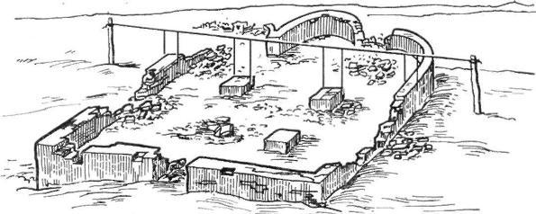 Рис. 91. Производство вертикального разреза остатков здания