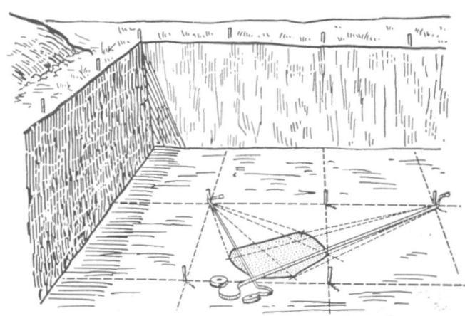 Рис. 78. Замер координат пятна по точкам (углом)