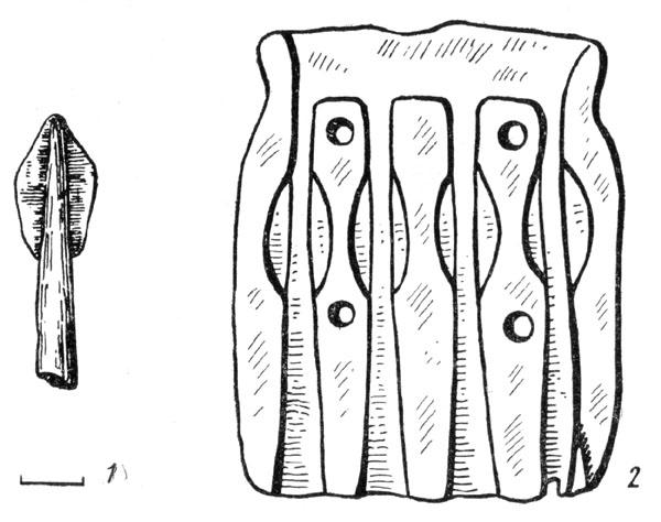 Рис. 87. Бронзовые наконечники стрел Предскифского периода: 1—из станицы Чернышевской, 2—Новочеркасский клад