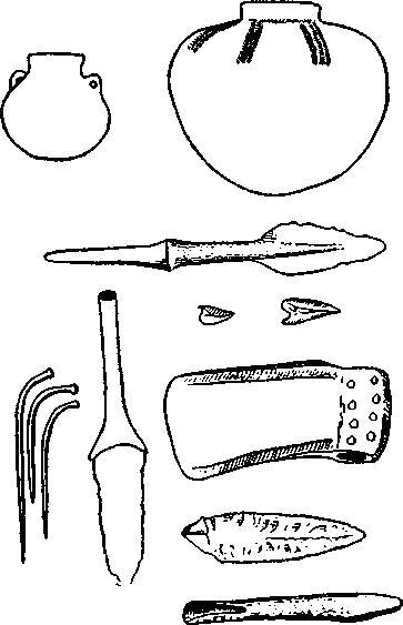 Рис. 75. Посуда, оружие и орудия и булавки из погребения в Новосвободной.