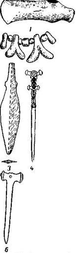 Рис. 76. 1 - медный боевой топор; 2 - медные бусы (2/3), Воздвиженская (1/3); 3 — медныйнаконечник; 4, 5, 6 — медные и костяные булавки (1/2).