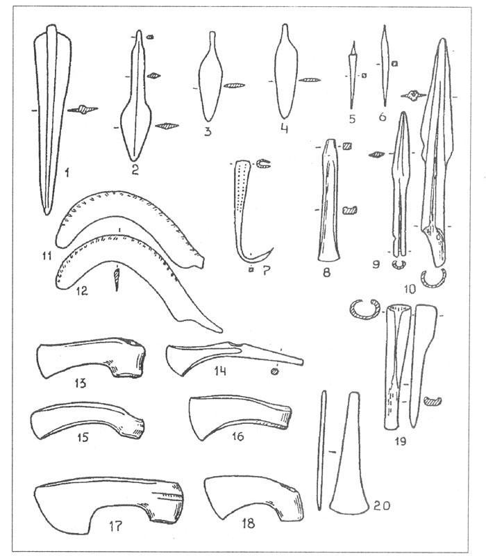 Рис. 61. Бронзовые орудия и оружие прикубанского очага металлообработки [Chernykh E. N., 1992]. 1-4 - ножи и кинжалы; 5, 6 - шилья; 7 - крюк; 8, 19 - долота; 9, 10 - наконечники копий; 11, 12 - серпы; 13, 15-18 - вислообушные топоры; 14 - топор-молоток; 20 - тесло.