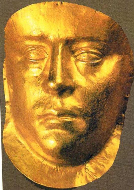 Золотая маска из погребения боспорского царя Рискугорида III
