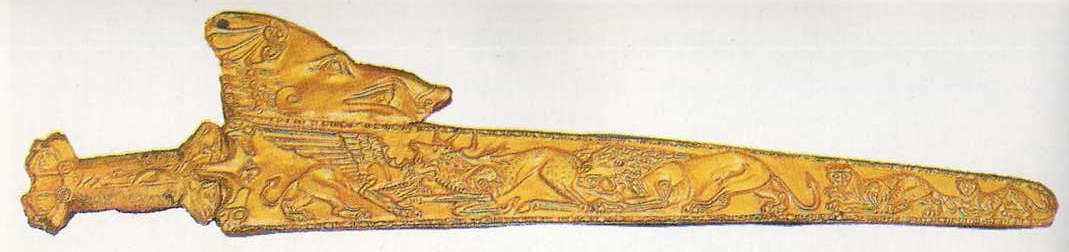 Золотая оправа ножен для меча, курган Большая Белозерка, IV в. до н.э.