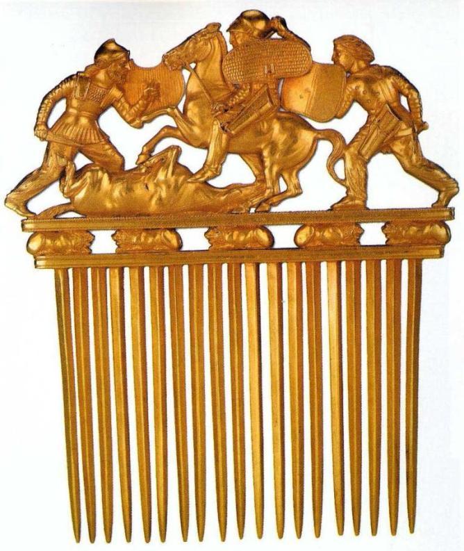 Золотой гребень, курган Солоха, конец V - начало IV в. до н. э