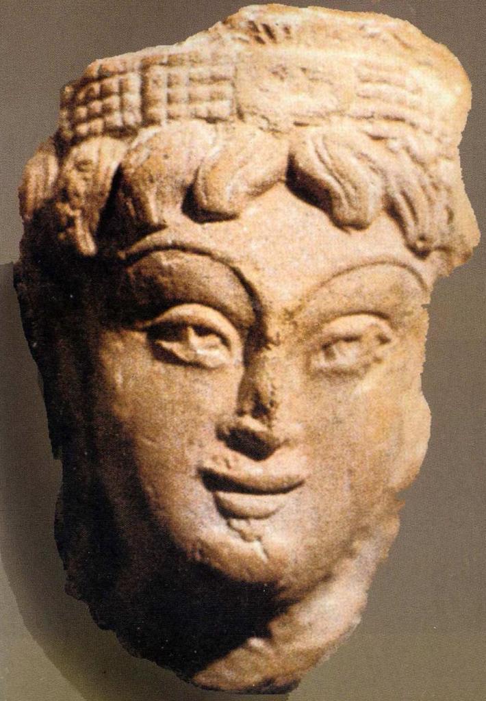 Терракотовая голова богини, Пенджикент, VII в.