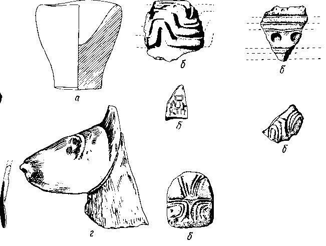 Каменные предметы из натуфийского поселения в Эйнане: а — базальтовая чаша; б — схематичная человеческая головка и фрагменты орнаментированных сосудов; в — костяной шпатель — из Эйнана; г — голова газели из погребения в Вади Фалла.