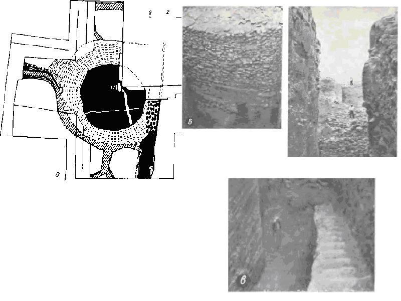 Иерихона периода докерамического неолита А. На плане (а) и фотографии (б) башни виден выход; в — вид главной траншеи с круглой башней на заднем плане, городской стеной, материковым слоем и выбитым в скале рвом
