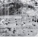 Рис. 9.14. Педантичная фиксация на раскопках в пещере Боомплаас в Южной Африке, где исследователи вскрывали десятки тончайших слоев обитания и хрупких данных об условиях окружающей среды, относящихся к каменному веку. При раскопках перемещались тонкие слои отложений, а положение отдельных артефактов фиксировалось с помощью сети, подвешенной с потолка пещеры