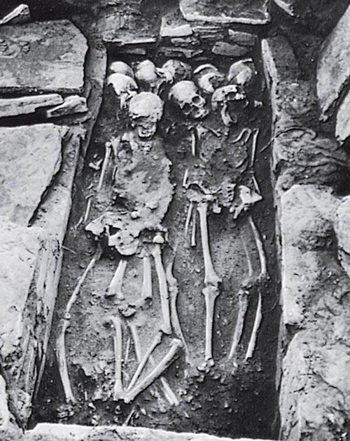 Рис. 9.15. Классическая коллективная могила майя в Гуаляне в долине Мотагуа в Гватемале. Обратите внимание на чистоту раскопок, тщательно очищенные скелеты и на каменные края могилы