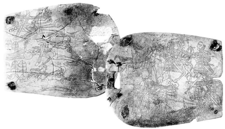 Рис. 4.5. Костяные пряжки с изображением батальной сцены и охоты. Отрарско-каратауская культура