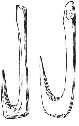 Рис. 13.12. Рыболовные крючки из кости культуры маглемозе на севере Европы. Две трети от реального размера
