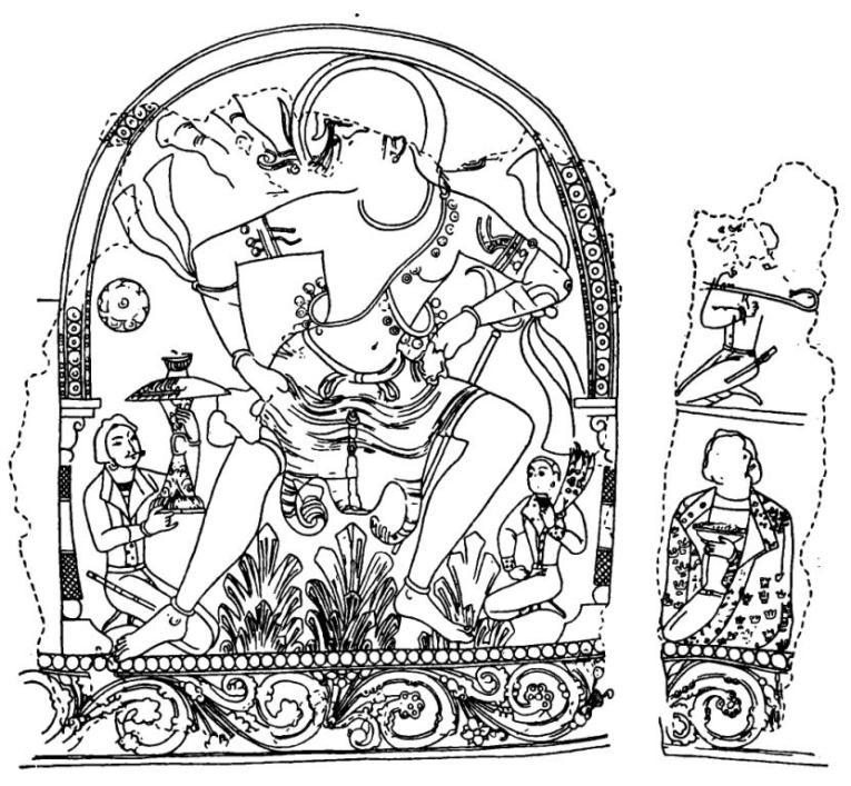 Рис. 8. Стенная роспись. Пянджикент. Объект VII. Раскопки 1962 г.