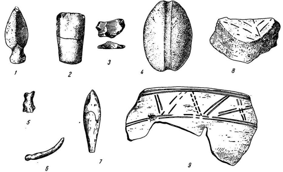 Рис. 53. Орудия и керамика из раковинных куч. 1 — наконечник копья; 2 — долото; 3 — скребок; 4 — рыболовное грузило из гальки; 5 — просверленная бабка; б — обломок рыболове ого крючка; 7 — наконечник стрелы; 8 — часть донышка сосуда с рисунком листа; 9 — черепок с ленточным орнаментом (1— 4 — камень; 5—7 — кость; 8—9— глина)