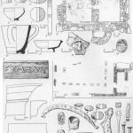 Таблица LI. Раевское городище и Цемдолинское поселение I — Раевское городище: 1 — клеймо на горгиппийской черепице; 2 — план здания; 3 — фрагмент каменной капители; 4 — фрагмент каменного карниза; 5 — база столба; 6 — железный серп; 7 — сердоликовая буса; 8—10 — глиняные пряслица; 11 — глиняная льячка; 12 — точильный камень; 13 — глиняное грузило; 14 — сероглиняный канфар; 15 — пор; 16 — гвозди. II — Цемдолинское поселение: 1—7 — глиняные пряслица; 8 — краснолаковая чашечка; 9 — часть веретена (кость); 10 — сероглиняный трехручный канфар; 11 — простая чашечка; 12 — план здания; 13 — фрагмент лепного сосуда; 14 — скарабей. Составитель Н. А. Онайко