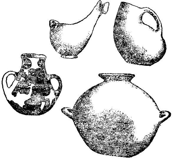 Рис. 35. Раннеэлладские формы керамики: соусник, аск, кружка и широкогорлый кувшин.