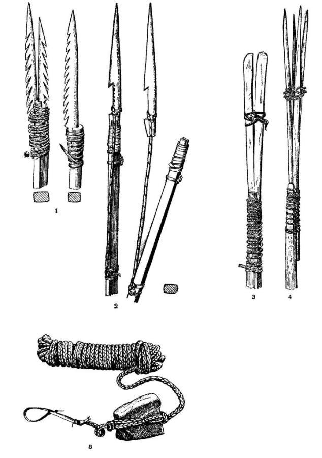 Орудия огнеземельцев: 1 — копья; 2 — гарпуны; 3 — орудие для ловли моллюсков; 4 — орудие для ловли крабов; 5 — «удочка»