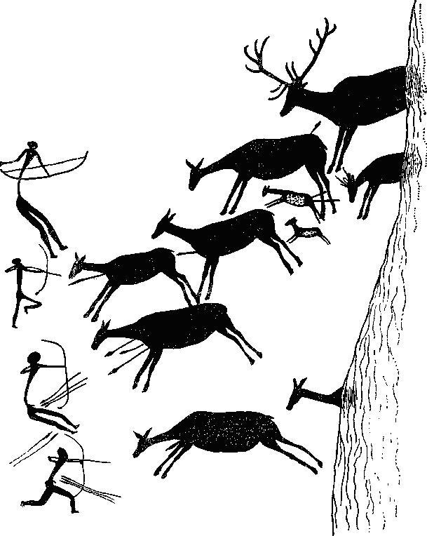 Опени, загоняемые на цепь охотников, вооруженных луками. Позднепалеолитическая стенная роспись черной краской из пещеры Лос Кабальос, Испания